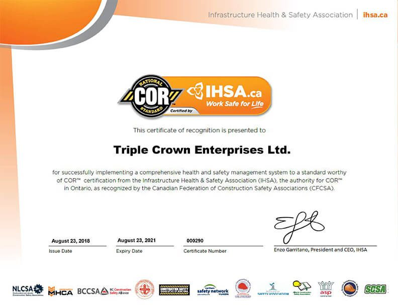 IHSA Certificate of Recognition (COR)™