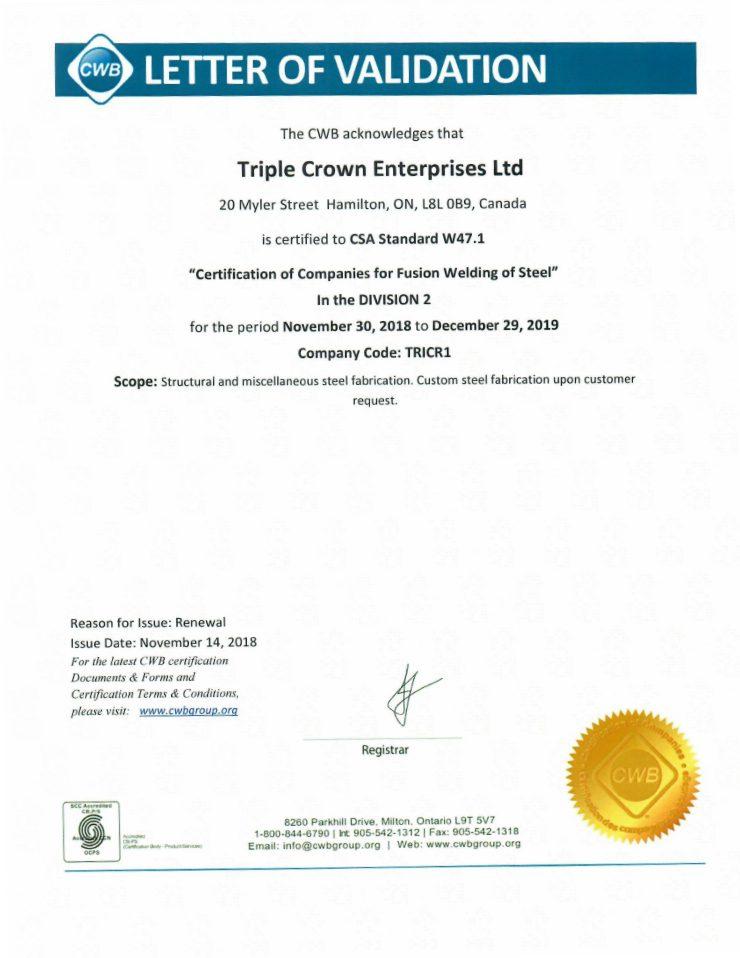 Canadian Welding Bureau (CWB) Certification of Companies for Fusion Welding of Steel