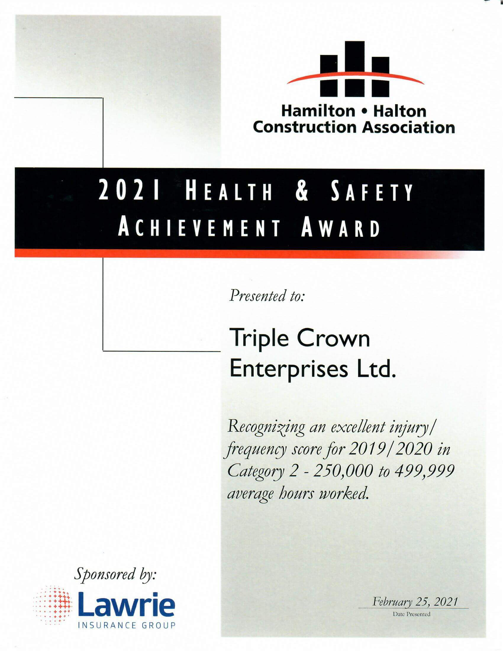 Hamilton Halton Construction Association (HHCA) Health & Safety Award 2018